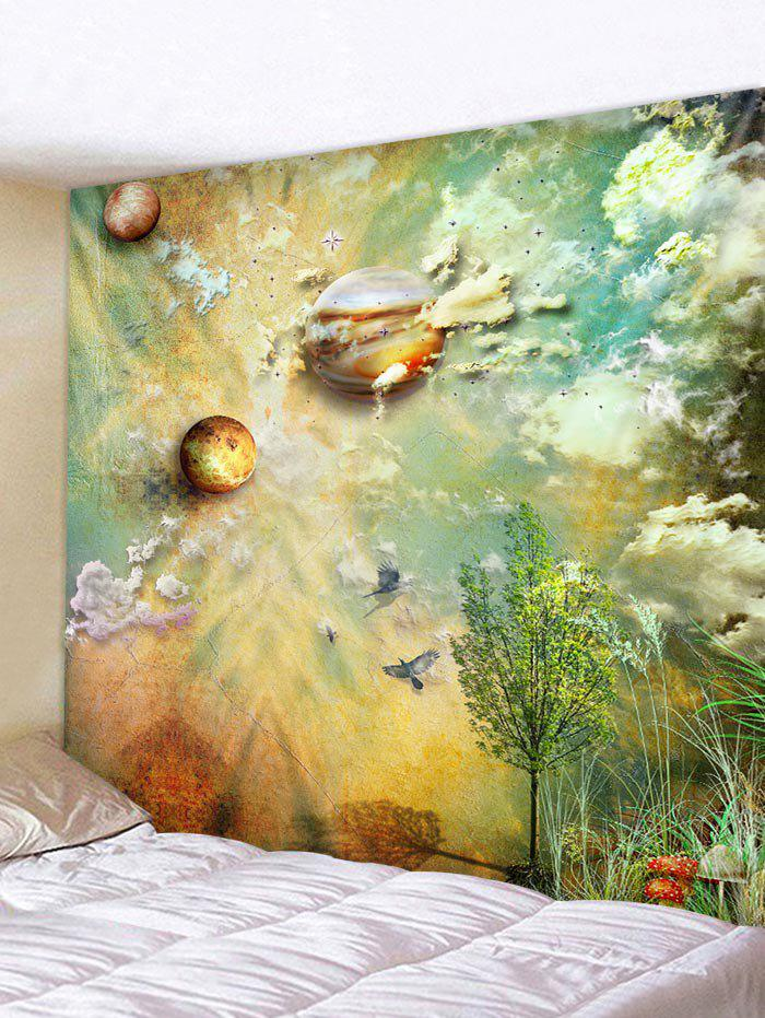 Planets and Cloud Print Tapestry Wall Art - multicolor W59 INCH * L59 INCH