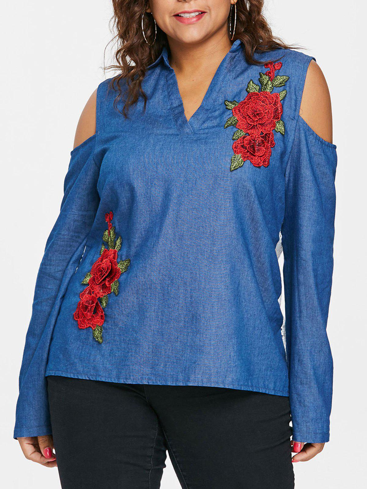 Plus Size Back Buttoned Eyelet Embroidery Top - BLUE L