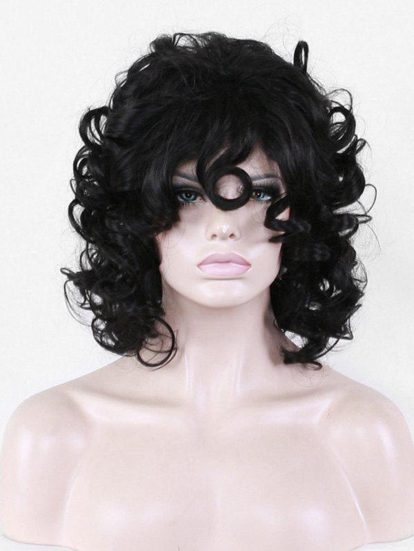 Inclined Fringe Short Big Curly Synthetic Wig - BLACK
