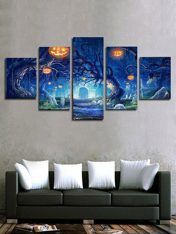 Halloween Pumpkin Tree Print Unframed Canvas Paintings - multicolor 1PC:12*31,2PCS:12*16,2PCS:12*24 INCH( NO FRAME )