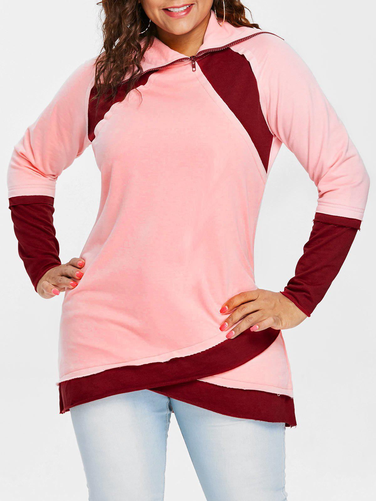 Long Sleeve Color Lump Plus Size Sweatshirt - PINK BUBBLEGUM 1X