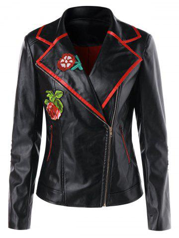 Applique Faux Leather Biker Jacket