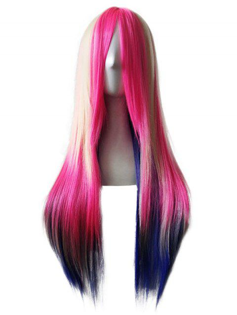 Inclined Bang Long Straight Colorful Synthetic Anime Cosplay Wig - DEEP PINK