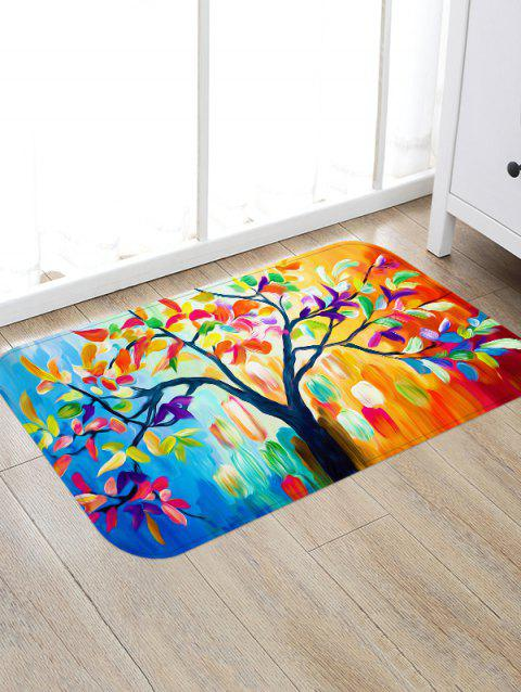 Oil Painting Tree Leaves Print Anti-skid Area Rug - multicolor W16 INCH * L24 INCH