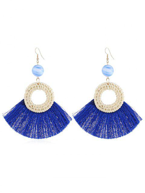 Geometric Fringed Knit Boho Drop Earrings - BLUE