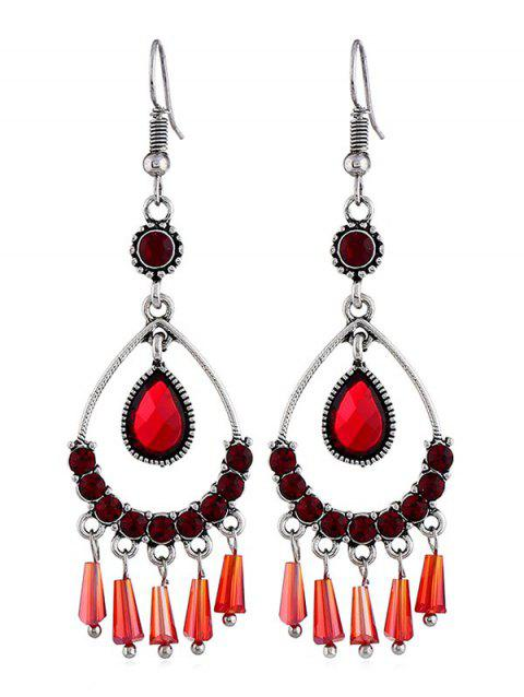 Hollow Water Drop Design Rhinestone Earrings - FIRE ENGINE RED