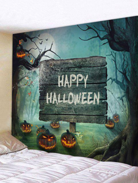 Halloween Cemetery Pumpkin Printed Tapestry Wall Art - multicolor W91 INCH * L71 INCH