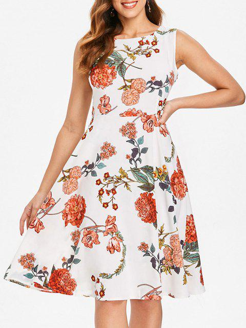 Floral Print Knee Length Dress - MILK WHITE 2XL