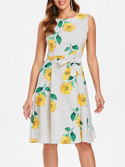 Sunflower Polka Dot Print Belted Dress - multicolor XL