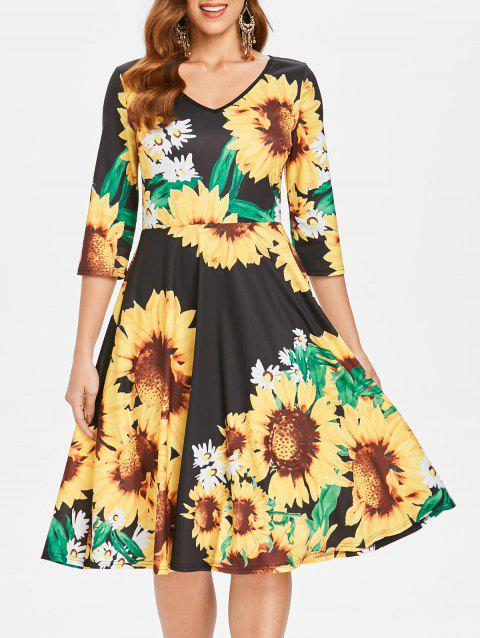 Sunflower Print High Waist A Line Dress - BLACK M