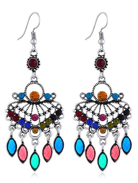 Hollow out Rhinestone Pendant Drop Earrings - multicolor