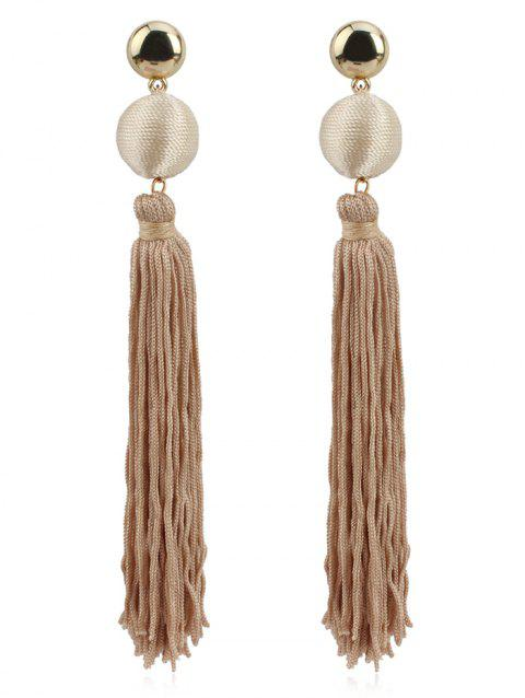 Vintage Colored Ball Long Tassel Drop Earrings - CAMEL BROWN