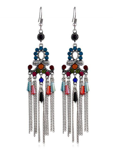 Vintage Long Tassels Hook Earrings - multicolor