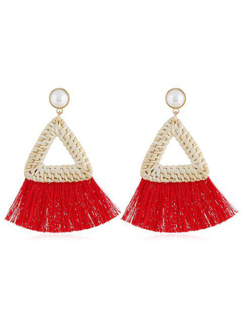 Overstatement Triangle Fringed Drop Earrings - RED