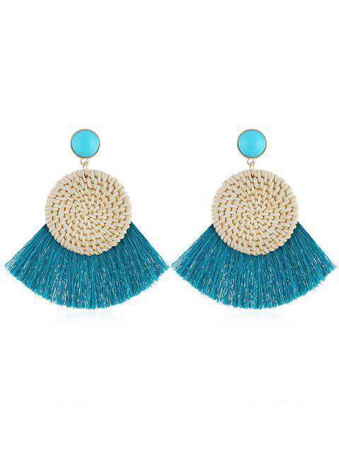 Boho Fan Fringed Knit Round Drop Earrings - TURQUOISE