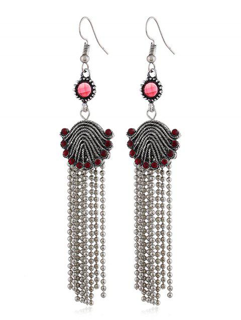 Vintage Tassels Long Drop Earrings - FIRE ENGINE RED