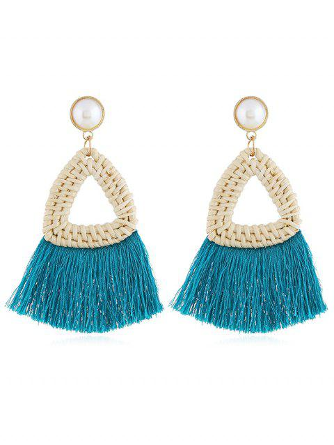Overstatement Triangle Fringed Drop Earrings - TEAL