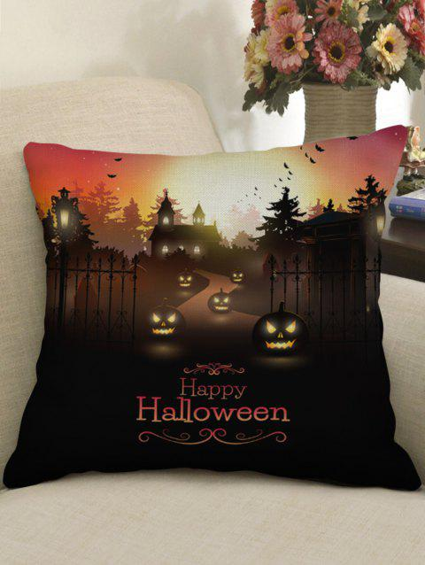Halloween Pumpkin Path Print Sofa Linen Pillowcase - BLACK W17.5 INCH * L17.5 INCH