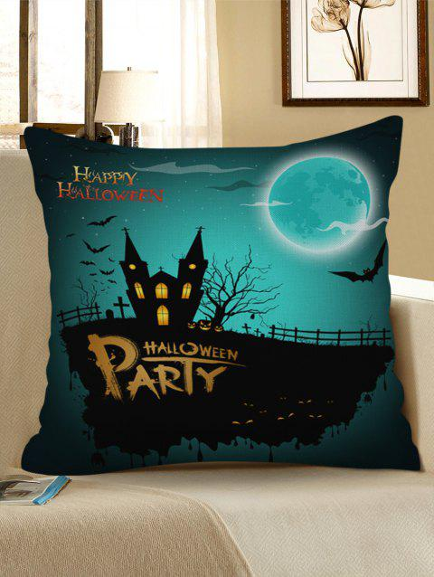 Halloween Party Print Sofa Linen Pillowcase - MEDIUM TURQUOISE W17.5 INCH * L17.5 INCH