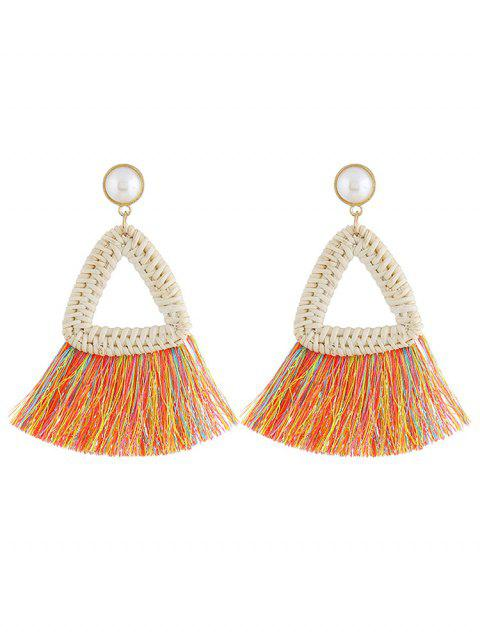Overstatement Triangle Fringed Drop Earrings - multicolor A