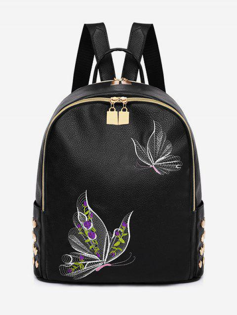 All Purpose Patchwork Studs Embroidery Backpack - multicolor A