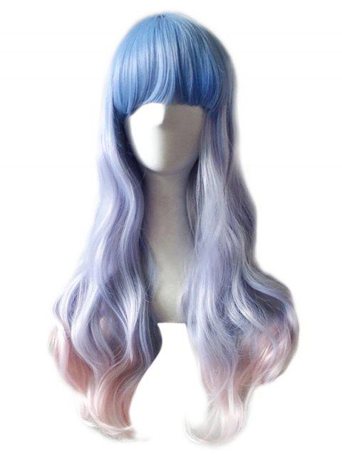 Long Full Bang Colormix Wavy Synthetic Anime Cosplay Wig - multicolor