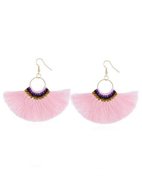Bohemian Fan Shaped Fringed Drop Earrings - PINK