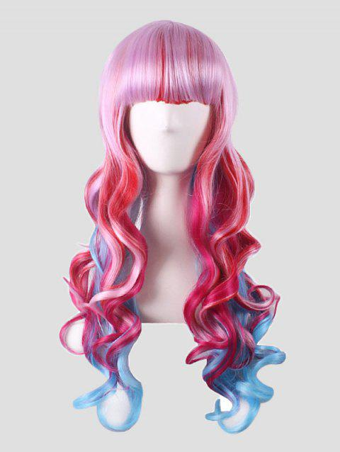 Full Bang Long Body Wave Colorful Synthetic Cosplay Wig - multicolor