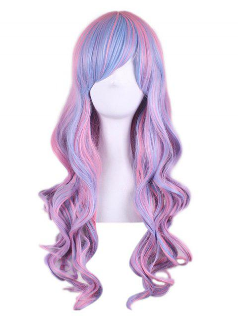 Long Inclined Bang Colormix Wavy Synthetic Anime Cosplay Wig - POWDER BLUE