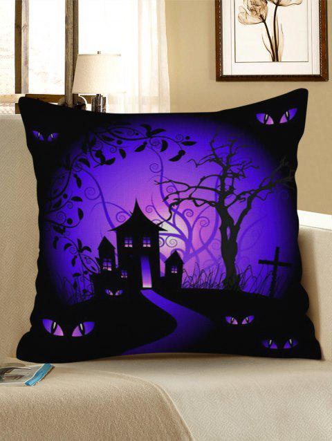 Halloween Bat Castle Pattern Decorative Linen Pillowcase - PURPLE FLOWER W17.5 INCH * L17.5 INCH