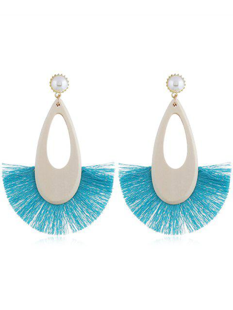 Stylish Faux Pearl Fan Fringed Earrings - BLUE LAGOON