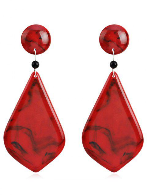 Geometric Resin Dangle Earrings - RED