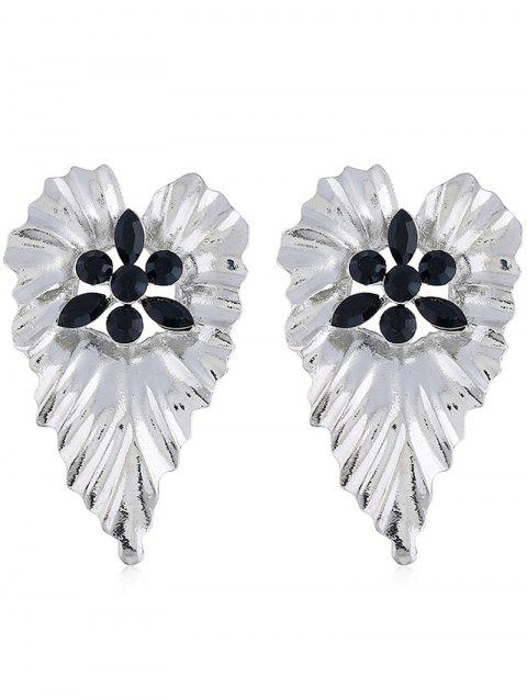 Bohemian Faux Crystal Inlaid Leaf Drop Earrings - BLACK