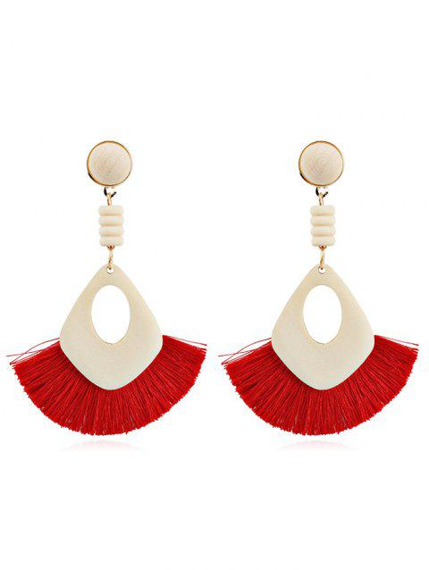 Hollow Out Boho Tassel Dangle Earrings - RED