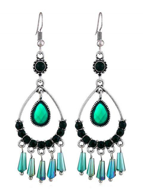 Hollow Water Drop Design Rhinestone Earrings - GREEN