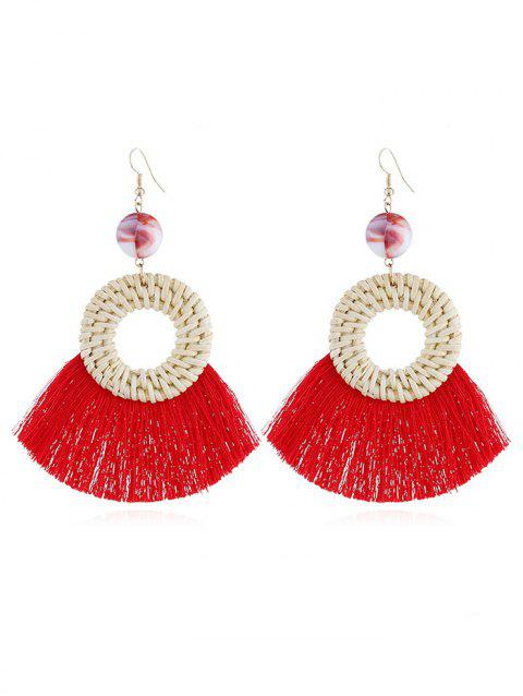 Geometric Fringed Knit Boho Drop Earrings - RED