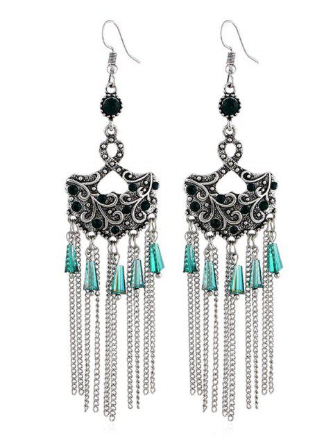 Rhinestone Chain Tassel Drop Hook Earrings - GREEN