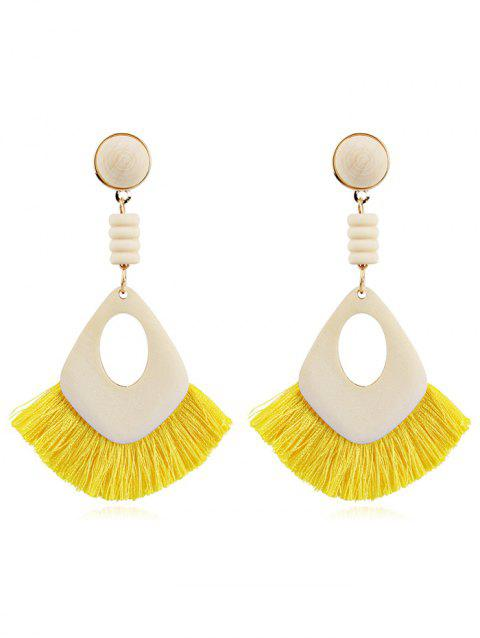Hollow Out Boho Tassel Dangle Earrings - YELLOW