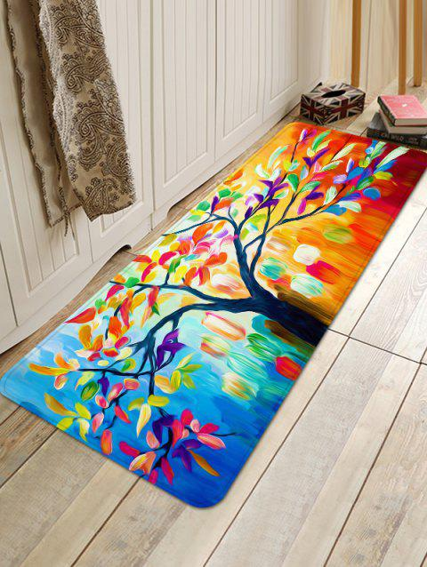 Oil Painting Tree Leaves Print Anti-skid Area Rug - multicolor W24 INCH * L35.5 INCH