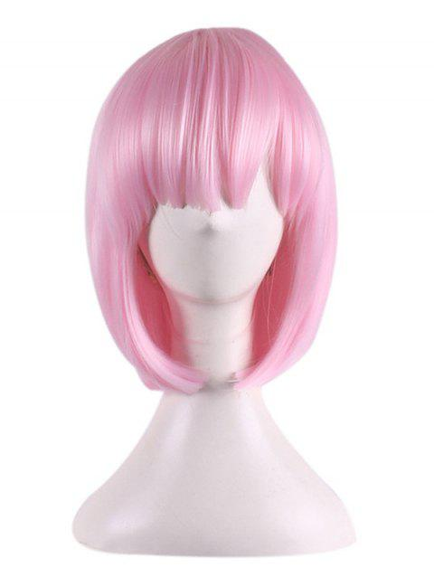 Short Straight Bob Anime Characters Rem Ram Cosplay Synthetic Wig - PINK