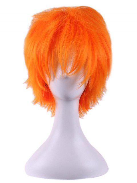 Short Straight Synthetic Anime Cosplay Wig - ORANGE