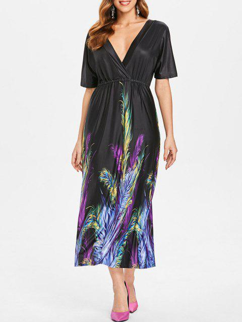 Feather Print Maxi Dress - BLACK L