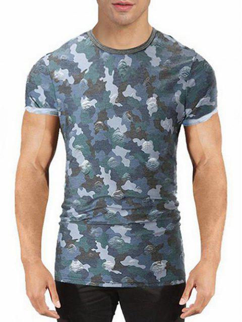 Destroyed Camo Print T-shirt - BLUE XL