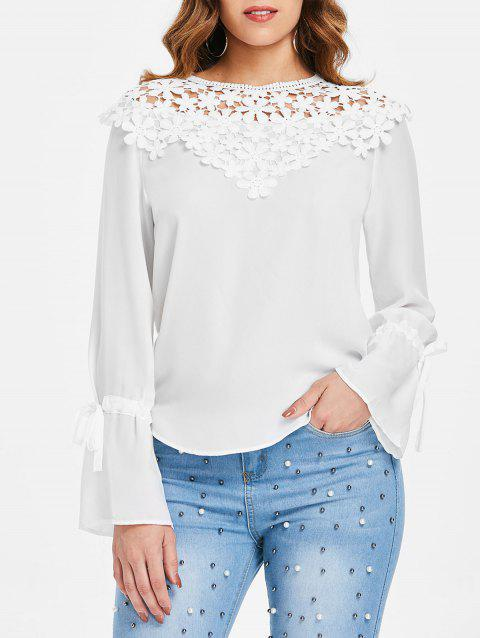 Lace Panel Round Neck Blouse - WHITE S
