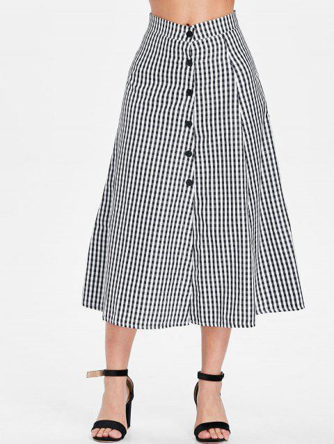 High Waist Gingham Print Mid Calf Skirt - BLACK XL