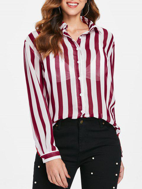 Striped Chiffon Shirt - RED M