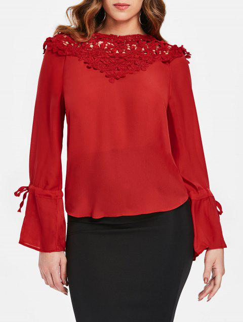 Lace Panel Round Neck Blouse - FIRE ENGINE RED XL
