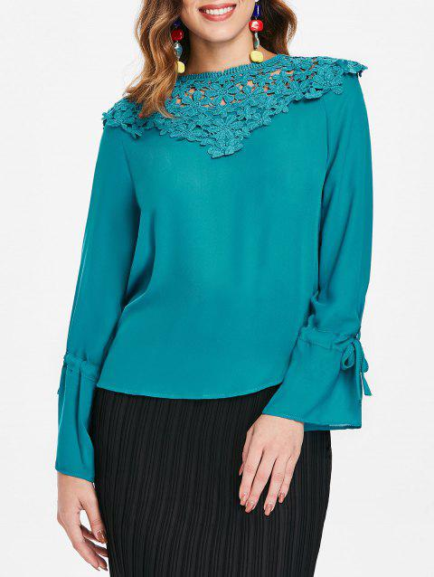 Lace Panel Round Neck Blouse - NORTHERN LIGHTS BLUE S