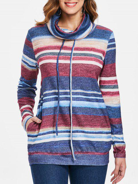 Drawstring Striped Pullover Sweatshirt - BLUE L
