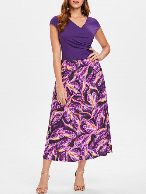 Printed Overlap Midi Dress - PURPLE JAM L